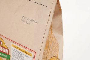 Bag made of paper with expiry date and internal tracking code, made by a Matthews Marking System